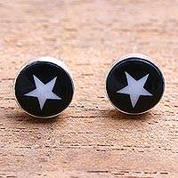 Bone stud earrings, 'Stars Above' - Star Motif Bone Stud Earrings from Bali