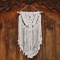 Cotton wall hanging, 'Tegalalang Knot' - Handmade Cotton Wall Hanging with Fringe from Bali