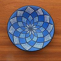 Ceramic decorative bowl, 'Blue Symmetry' - Hand-Painted Ceramic Decorative Bowl in Blue from Bali