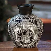Ceramic decorative vase, 'Concentric Shadows' - Black and White Ceramic Decorative Vase from Bali