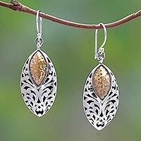 Sterling silver dangle earrings, 'Padi Shield' - Sterling Silver and Brass Dangle Earrings from Bali