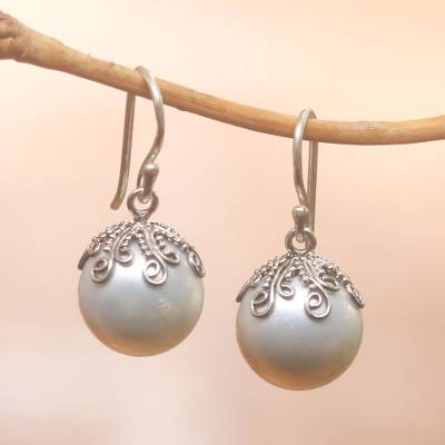 Cultured pearl dangle earrings, 'Goddess Fruit' - Cultured Pearl Dangle Earrings Crafted in Bali