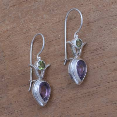 Amethyst and peridot dangle earrings, 'Sparkling Together' - Amethyst and Peridot Dangle Earrings from Bali