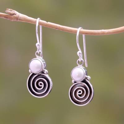 Cultured pearl dangle earrings, 'Spiral Moon' - Spiral Pattern Cultured Pearl Dangle Earrings from Bali