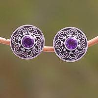 Featured review for Amethyst stud earrings, Glistening Swirl