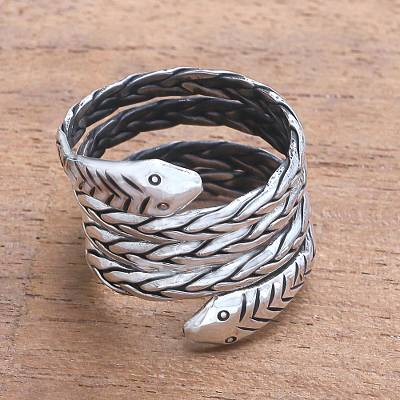 Sterling silver wrap ring, 'Bali Viper' - Sterling Silver Snake Wrap Ring from Bali
