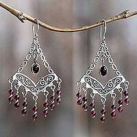 Amethyst chandelier earrings, 'Raining Prosperity' - Amethyst Chandelier Earrings from Bali