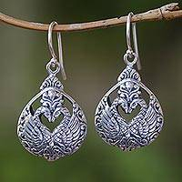Sterling silver dangle earrings, 'Loving Swans' - Sterling Silver Swan Dangle Earrings from Bali