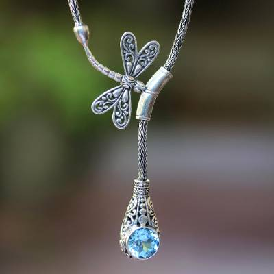 Blue topaz pendant necklace, 'Solo Dragonfly' - Blue Topaz Dragonfly Pendant Necklace from Bali