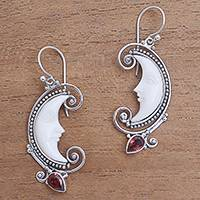 Garnet dangle earrings, 'Bun Crescents' - Garnet Moon Dangle Earrings Crafted in Bali