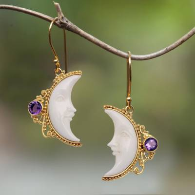 Gold plated amethyst dangle earrings, Regal Crescents