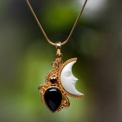 Gold plated onyx and garnet pendant necklace, Crescent Mystery