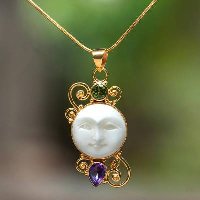 Gold plated amethyst and peridot pendant necklace, Round Moon