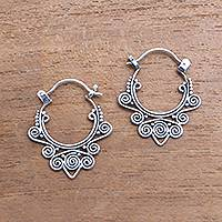 Sterling silver hoop earrings, 'Regal Celuk' - Swirl Pattern Sterling Silver Hoop Earrings from Bali