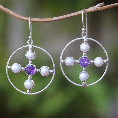 Cultured pearl and amethyst dangle earrings, 'Glowing Orbit' - Cultured Pearl and Amethyst Dangle Earrings from Bali