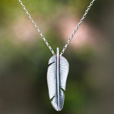 Sterling silver pendant necklace, 'Daun Pisang' - Sterling Silver Banana Leaf Pendant Necklace from Bali