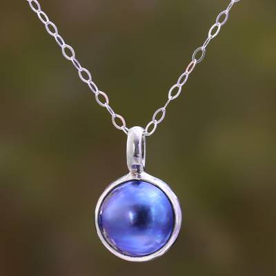 Cultured pearl pendant necklace, 'Ocean Orb' - Blue Cultured Pearl Pendant Necklace from Bali
