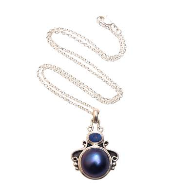 Cultured pearl and opal pendant necklace, 'Ocean Glow' - Cultured Pearl and Opal Pendant Necklace from Bali