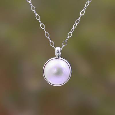 Cultured pearl pendant necklace, 'Glowing with Love' - White Cultured Pearl Pendant Necklace from Bali
