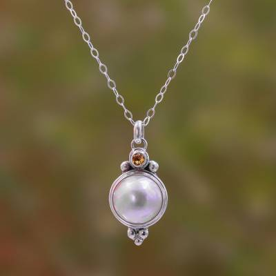 Cultured pearl and citrine pendant necklace, 'Magnificent Love' - Cultured Pearl and Citrine Pendant Necklace from Bali