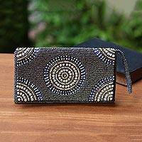 Beaded clutch, 'Circle of Beauty in Grey' - Circle Pattern Beaded Clutch in Grey from Bali