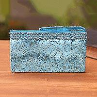 Beaded wristlet, 'Bead Ocean' - Handmade Plastic Beaded Wristlet in Blue from Bali