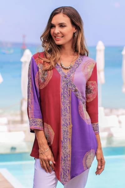 Rayon tunic, Color Symphony in Purple