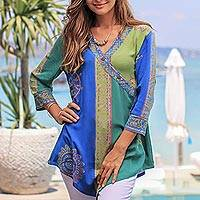 Rayon tunic, 'Color Symphony in Green' - Green and Blue Hand Batik Textured Rayon Flowing Tunic