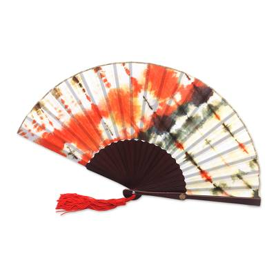 Tie-Dyed Cotton Fan in Tangerine and Olive from Java