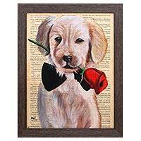 'Golden Retriever' - Signed Painting of a Golden Retriever from Bali