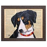 'Entlebucher Mountain Dog' - Signed Painting of an Entlebucher Mountain Dog from Bali
