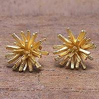 Gold plated sterling silver stud earrings, 'Golden Coral' - Modern 18k Gold Plated Sterling Silver Stud Earrings