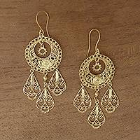Gold plated sterling silver chandelier earrings, 'Princess Night' - Gold Plated Sterling Silver Chandelier Earrings from Bali