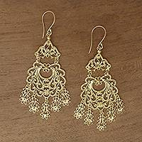 Gold plated sterling silver chandelier earrings, 'Real Beauty' - Artisan Crafted Gold Plated Sterling Silver Earrings