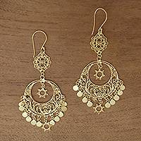 Gold plated sterling silver chandelier earrings, 'Daylight Queen' - Gold Plated Sterling Silver Chandelier Earrings
