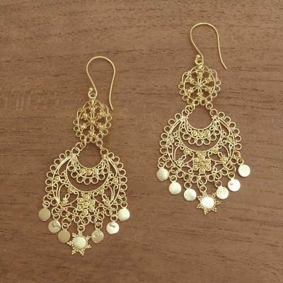 Gold plated sterling silver chandelier earrings, 'Bali Glamour' - Sterling Silver Chandelier Earrings Plated in 18k Gold