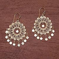 Gold plated sterling silver chandelier earrings, 'Tamiang' - 18k Gold Plated Sterling Silver Chandelier Earrings