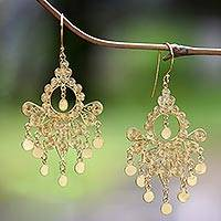 Gold plated sterling silver chandelier earrings, 'Gold Peacock Feather' - 18k Gold Plated Sterling Silver Chandelier Earrings