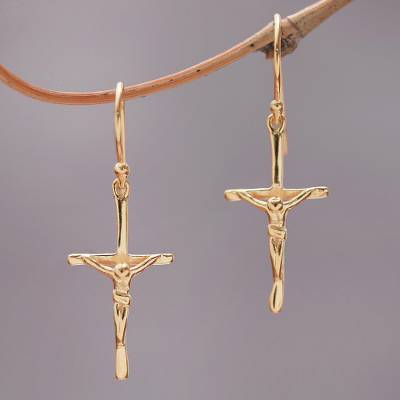 Gold plated sterling silver dangle earrings, 'Salvation Cross' - 18k Gold Plated Sterling Silver Crucifix Dangle Earrings
