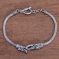 Men's sterling silver pendant bracelet, 'Spiritual Dragon' - Men's Sterling Silver Dragon Pendant Bracelet from Bali