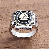 Men's sterling silver signet ring, 'Bold Valknut in Brass' - Men's Brass Accented Sterling Silver Odin's Knot Ring