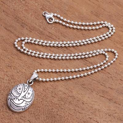 Sterling silver pendant necklace, 'Peace Bearer' - Engraved Sterling Silver Necklace with Dove and Olive Branch