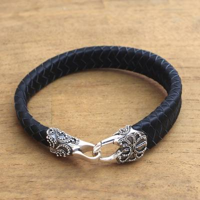 Men's leather and sterling silver braided wristband bracelet, 'Bun Claw in Black' - Men's Leather and Sterling Silver Bracelet in Black