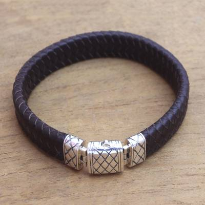 Men's leather and sterling silver braided wristband bracelet, 'Woven Pattern' - Men's Sterling Silver Braided Wristband Bracelet in Brown