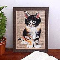 'Cute Cat' - Signed Painting of a Cute Cat from Bali