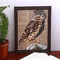 'Perching Owl' - Signed Painting of a Perched Owl from Bali