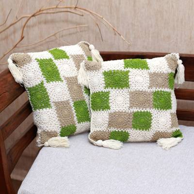Crocheted cotton cushion covers, 'Square Petals' (pair) - Square Pattern Crocheted Cotton Cushion Covers (Pair)