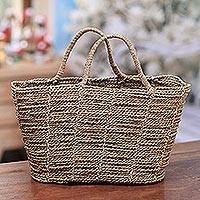 Natural fiber basket, 'Tropical Pattern' - Handwoven Natural Fiber Basket from Bali