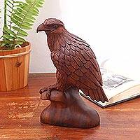 Wood sculpture, 'Noble Eagle' - Hand-Carved Suar Wood Eagle Sculpture from Bali