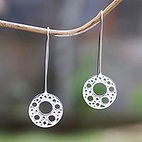 Sterling silver drop earrings, 'Circular Patterns' - Circle Pattern Sterling Silver Drop Earrings from Bali